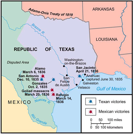 Texas Revolution Maps - Map of the texas