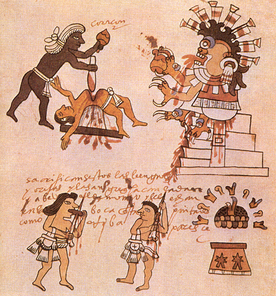 This image from an Aztec codex, the Tudela Codex, is extremely descriptive. It shows the black paint the priest wore, bloodletting, their image of Huitzipotchli eating the heart, the altar, and more. I  don't know yet what the Spanish writing means. I think it is a great artifact since it shows so much.