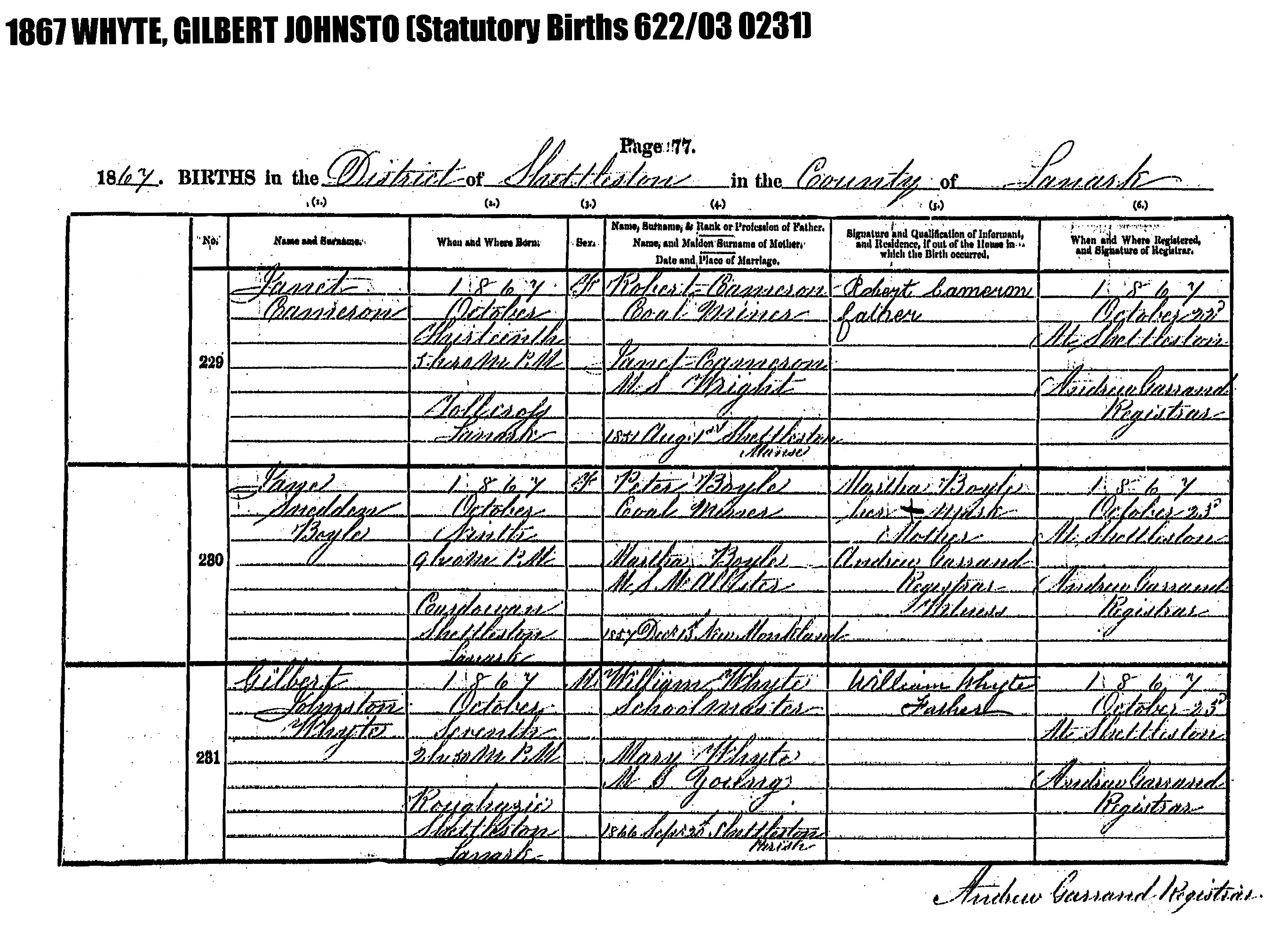 The scottish relatives of juan calixto sanchez whyte grandfather gilbert johnston white birth certificate oct 7 1867 aiddatafo Image collections