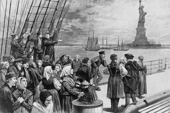 European immigrants arriving in New York City in the 19th century