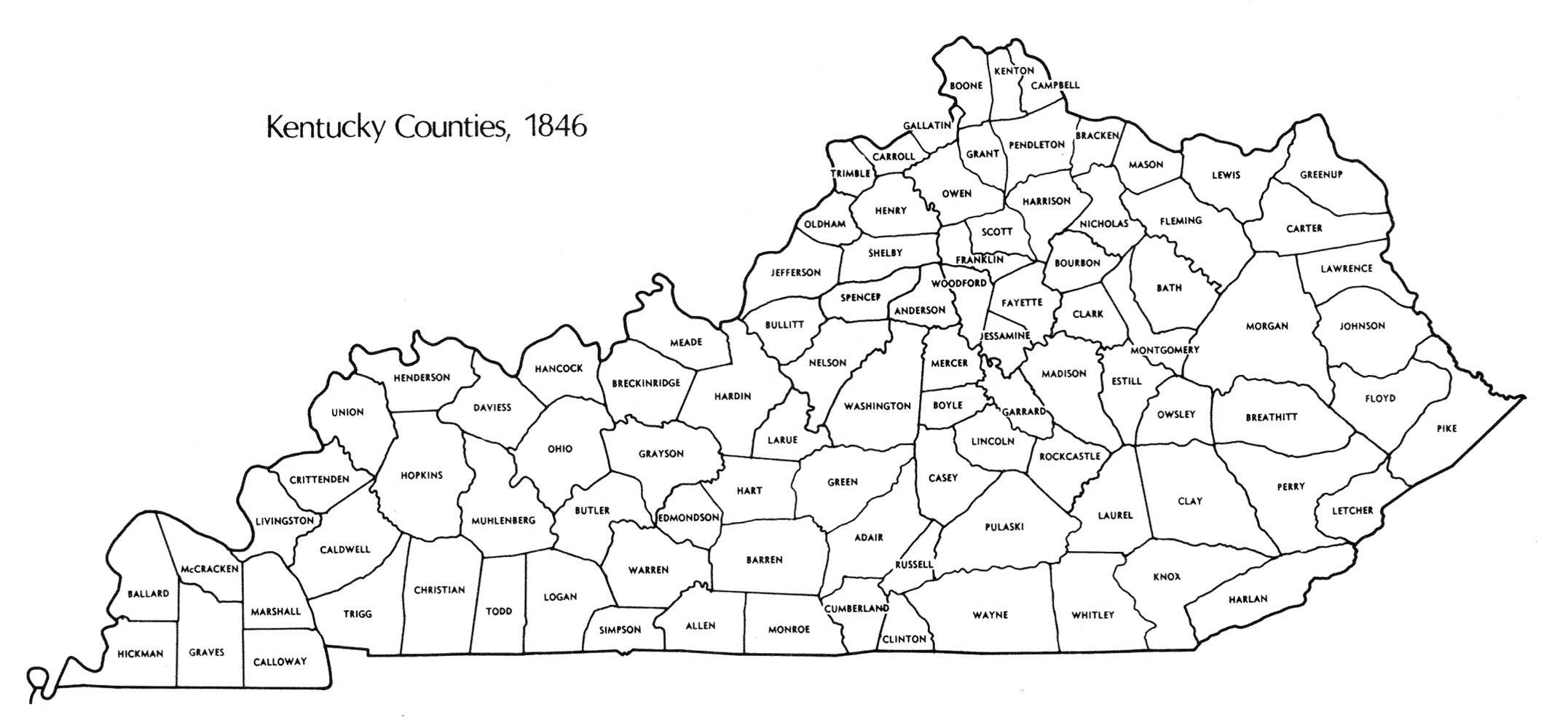 County Map Of Kentucky MAP - County map of kentucky