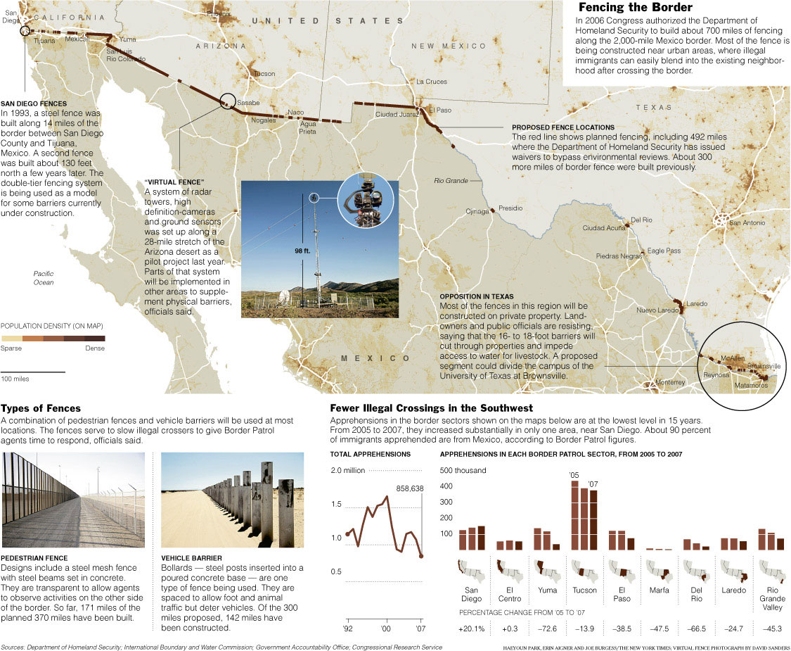 United States Immigration - Us border fence map