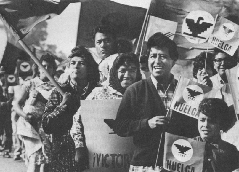 Cesar Chavez leads a UFW picket line in 1965