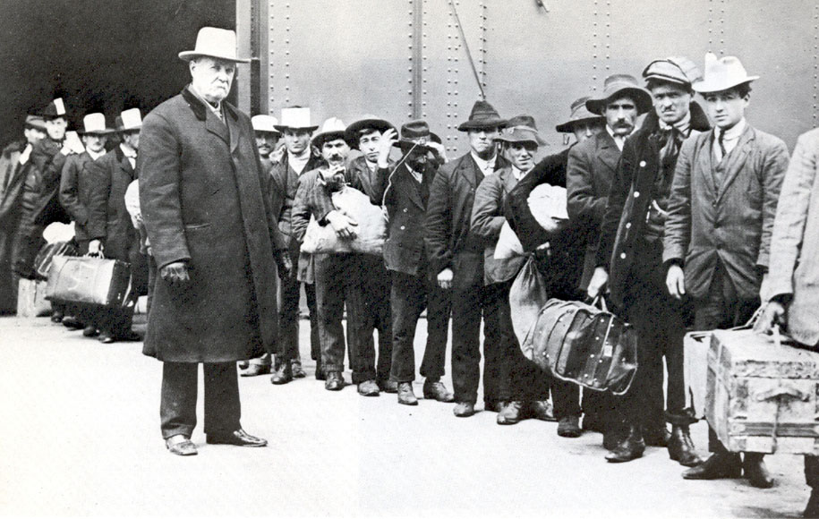 Men from southern italy arrive at ellis island 1911