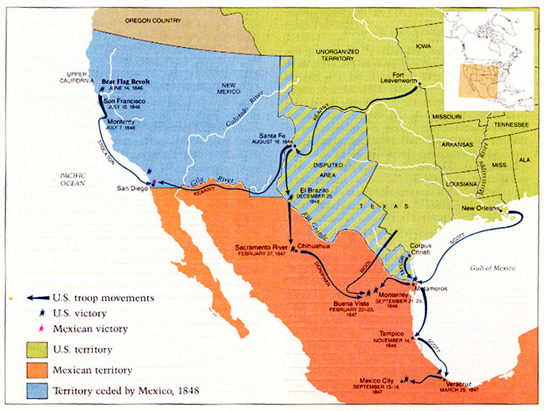 MexicanAmerican War Wikipedia Map Of The United States Expansion - Map of us and mexico