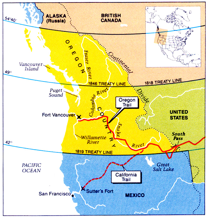 Mexican War Maps - 1819 map of us