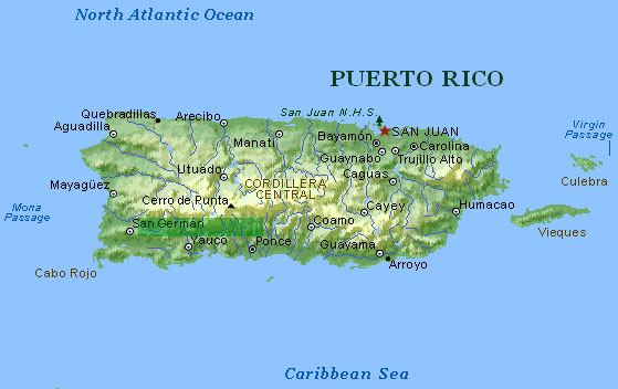 Physical Map Of Puerto Rico MAP